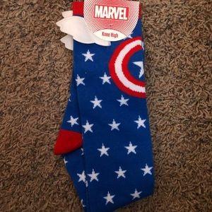 New Captain America Knee High Socks